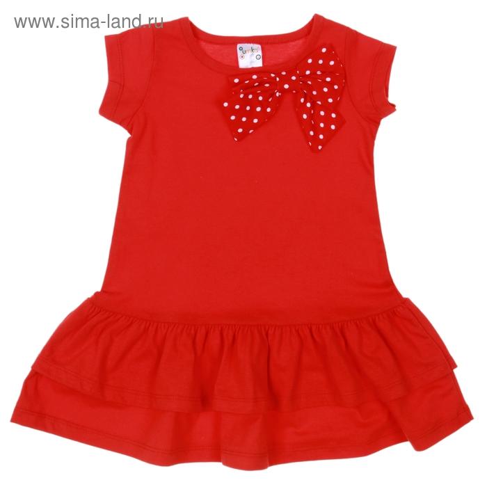 Платье для девочки короткий рукав, рост 98-104 см, цвет красный/горох AZ-745