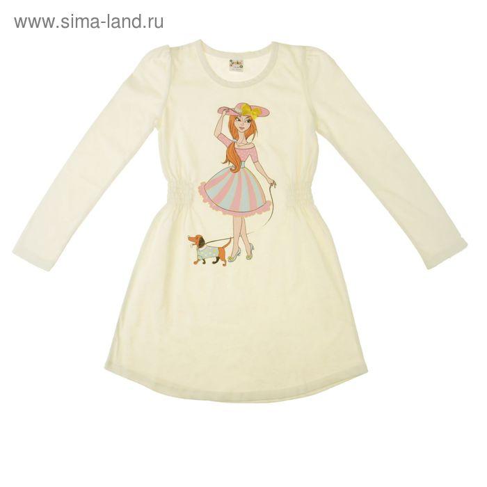 Платье для девочки с длинным рукавом, рост 98-104 см , цвет бежевый, принт МИКС (арт. AZ-740)