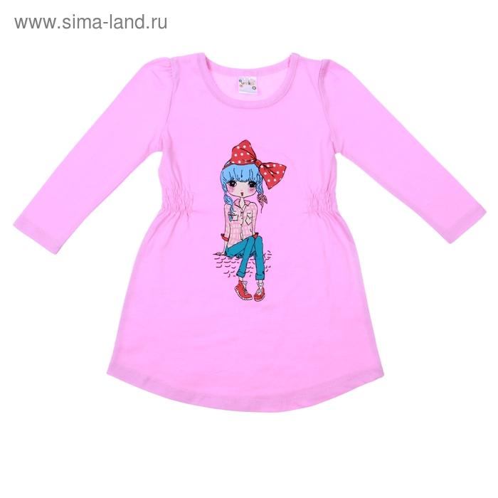 Платье для девочки длинный рукав, рост 110-116, цвет розовый AZ-740