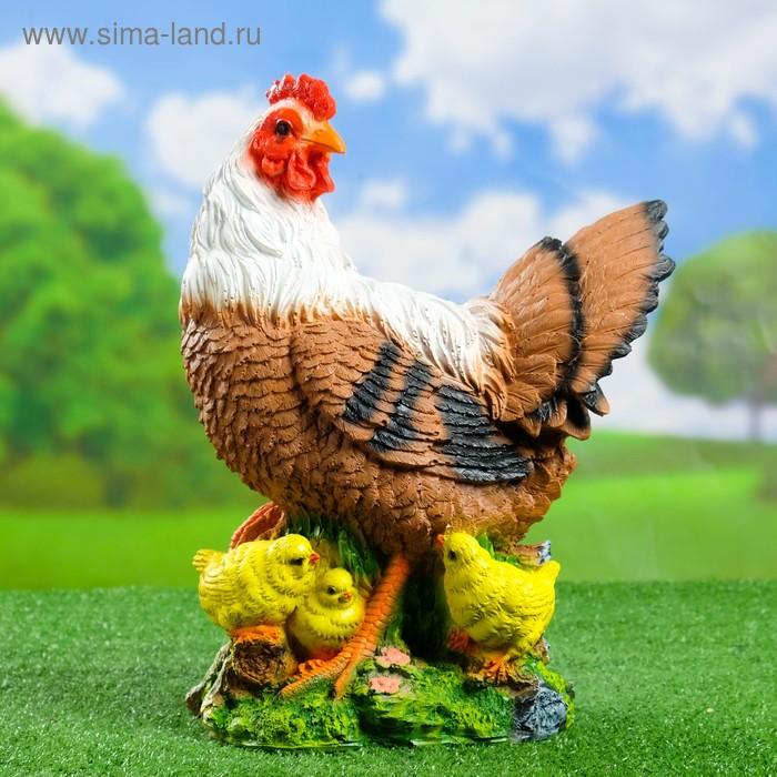 """Садовая фигура """"Курица с цыплятами"""" коричнево-белая"""