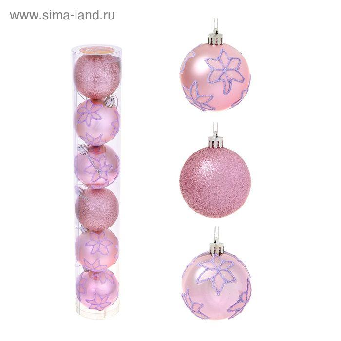 """Новогодние шары """"Розовые цветочки"""" (набор 6 шт.)"""