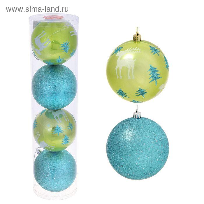 """Новогодние шары """"Олешки в бирюзовом лесу"""" (набор 4 шт.)"""