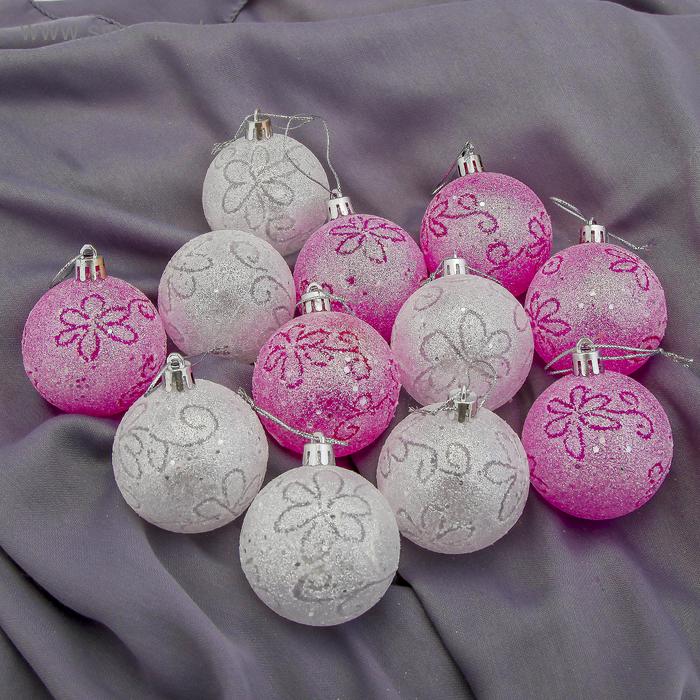 """Новогодние шары """"Волшебные цветочки"""" (набор 12 шт.)"""