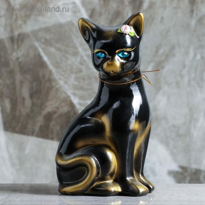 "Копилка ""Кошка Лиза"" малая, глянец, чёрная"