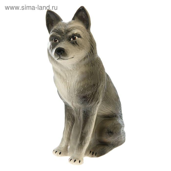 """Садовая фигура """"Сидящий волк"""" серо-белая"""