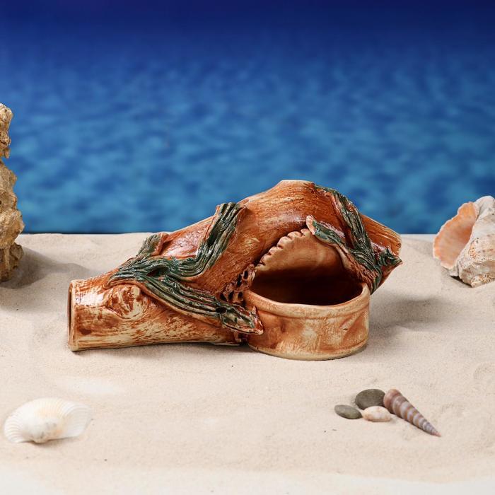 """Декорации для аквариума """"Коряжка с банкой"""" коричневая"""
