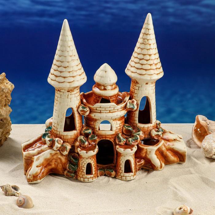 """Декорации для аквариума """"Крепость с двумя башнями в скале"""" микс"""