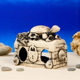 """Декорации для аквариума """"Сундук с черепахой"""" микс"""