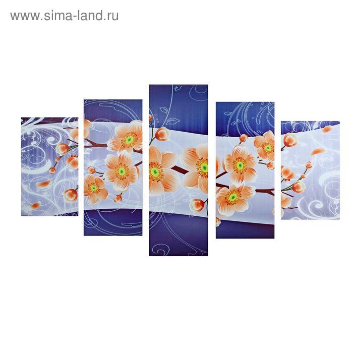 """Модульная картина на холсте с подрамником """"Веточка оранжевых цветов"""""""