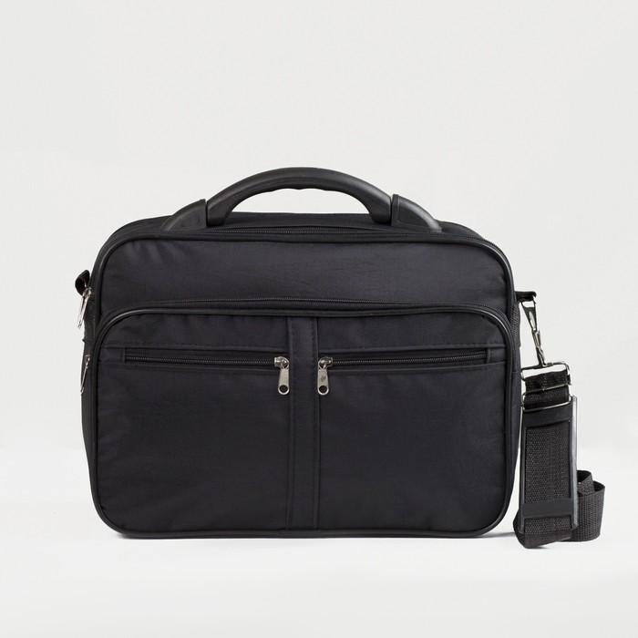 Сумка мужская, 2 отдела, 2 наружных кармана, длинный ремень, цвет черный