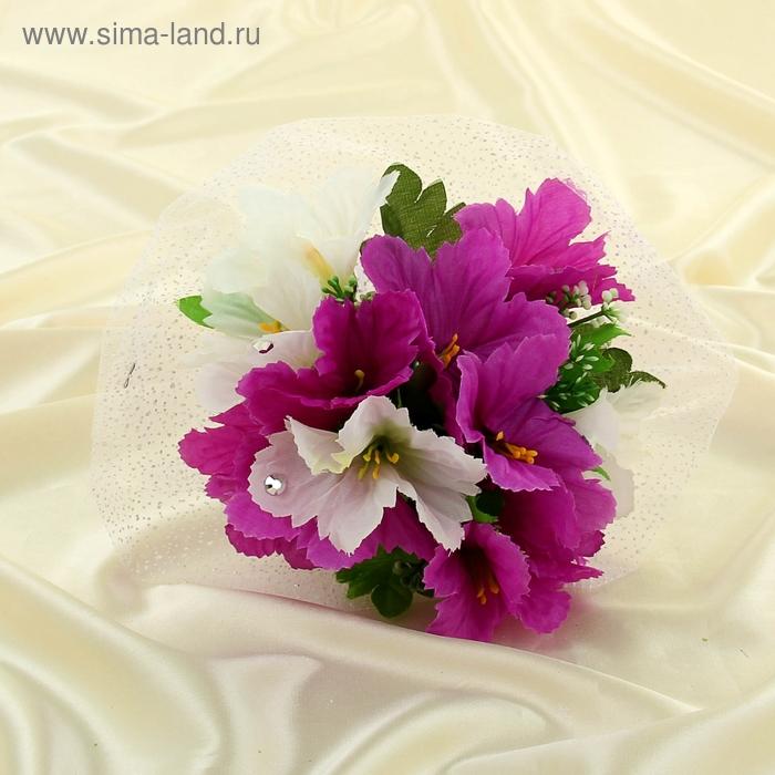 Дублер букета невесты с колокольчиками бело-фиолетовый 11 шт