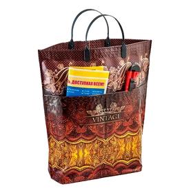 "Пакет ""Винтаж"" мягкий пластик, с карманами, 37х37 см, 150 мкм"