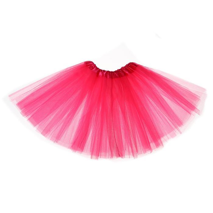 Карнавальная юбка 3-х слойная 4-6 лет, цвет розовый