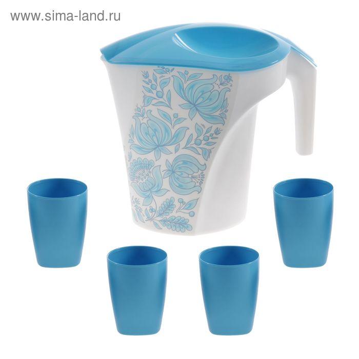 """Набор питьевой """"Цветы"""", 5 предметов: кувшин 3 л, стаканы 4 шт"""