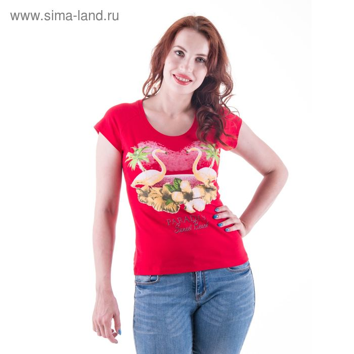 Футболка женская, цвет красный, принт МИКС, размер 50 (XL) (арт. Б178)