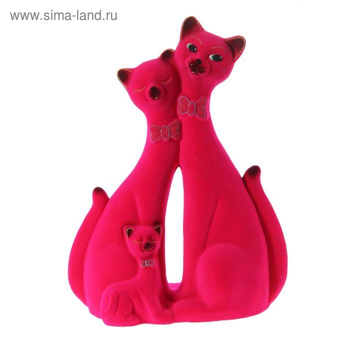 """Копилка """"Семья котиков"""" большая, флок, розовая"""