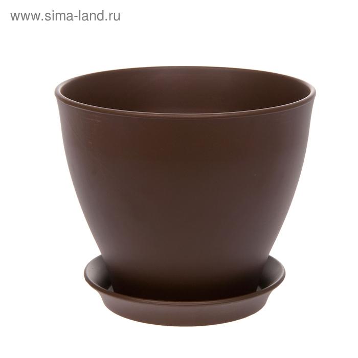 """Кашпо """"Ксения"""" матовое, шоколадное, 11 л"""