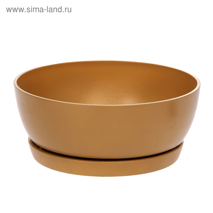 """Кашпо """"Плошка"""" глянец, золото, 6 л"""