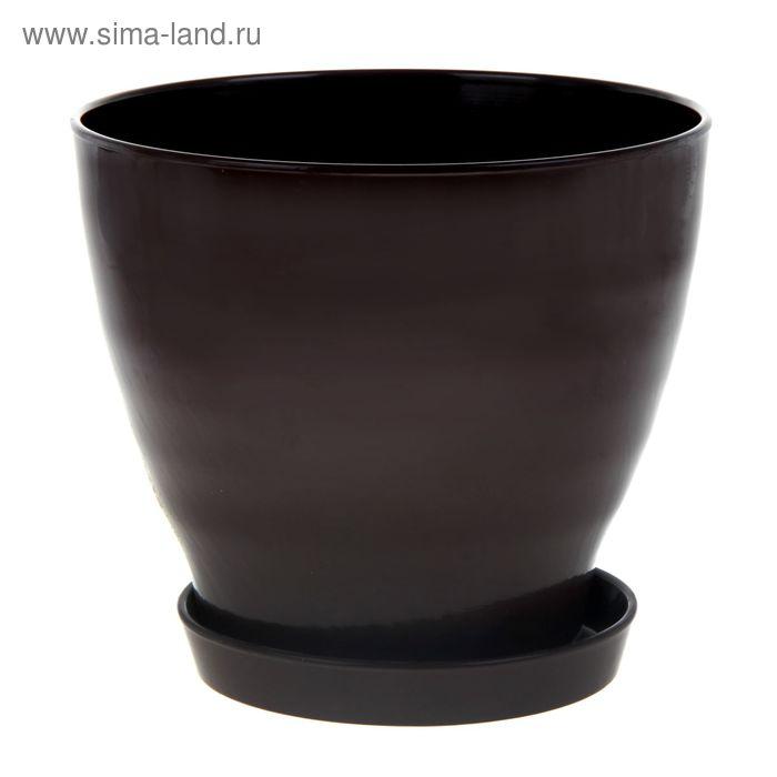 """Кашпо """"Ксения"""" матовое, шоколадное, 15 л"""