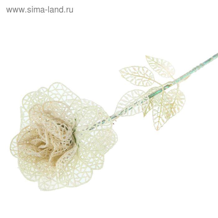 """Ветка для декора """"Ажурная роза"""" (белая)"""