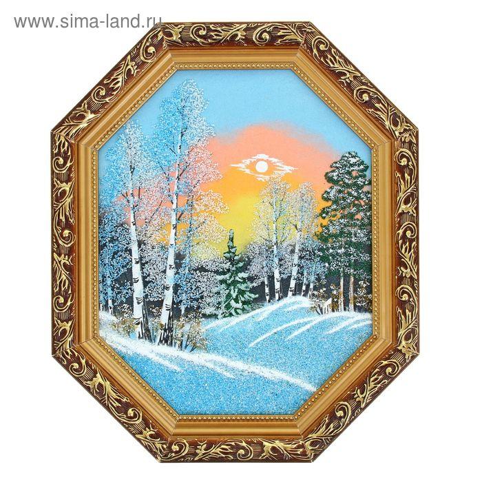 """Картина """"Зима"""" восьмигранный овал, каменная крошка"""