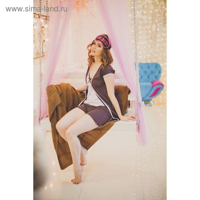 Комплект женский (халат, топ, шорты), цвет розово-коричневый, размер 50 (арт. FS2172)