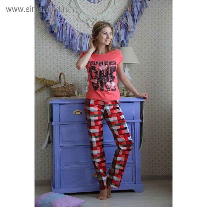 Комплект женский (футболка, брюки) FS2175a коралл, р-р 54