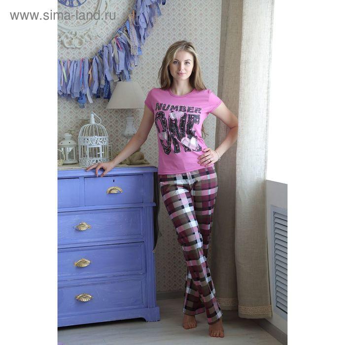 Комплект женский (футболка, брюки), цвет брусника, размер 42 (арт. FS2175a)
