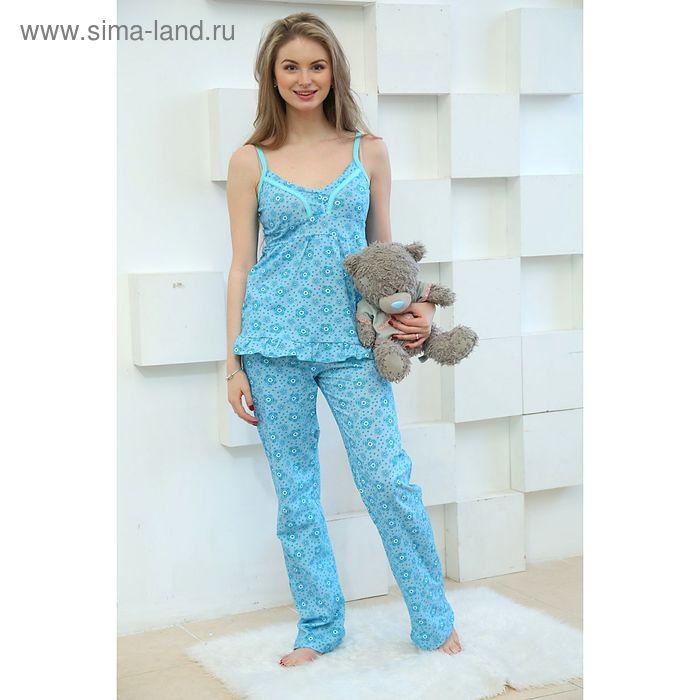 Пижама женская (топ, брюки), цвет бирюзовый, размер 44 (арт. FS2166)