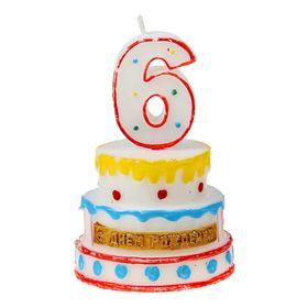 """Свеча-цифра в форме торта """"6"""""""