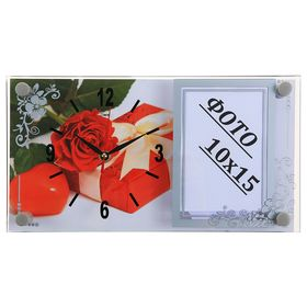 Часы настенно-настольные с фоторамкой 'Подарок с розой', 17х32 см микс Ош