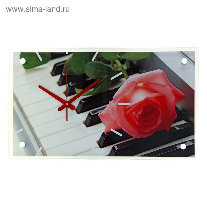"Часы настенные прямоугольные ""Роза на клавишах"", 60х36 см"