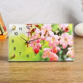 Часы настольные прямоугольные 'Розовые цветы' 13х23 см микс Ош