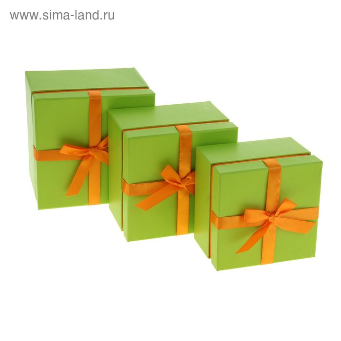 """Набор коробок 3в1 """"Стиль"""", цвет салатово-оранжевый"""