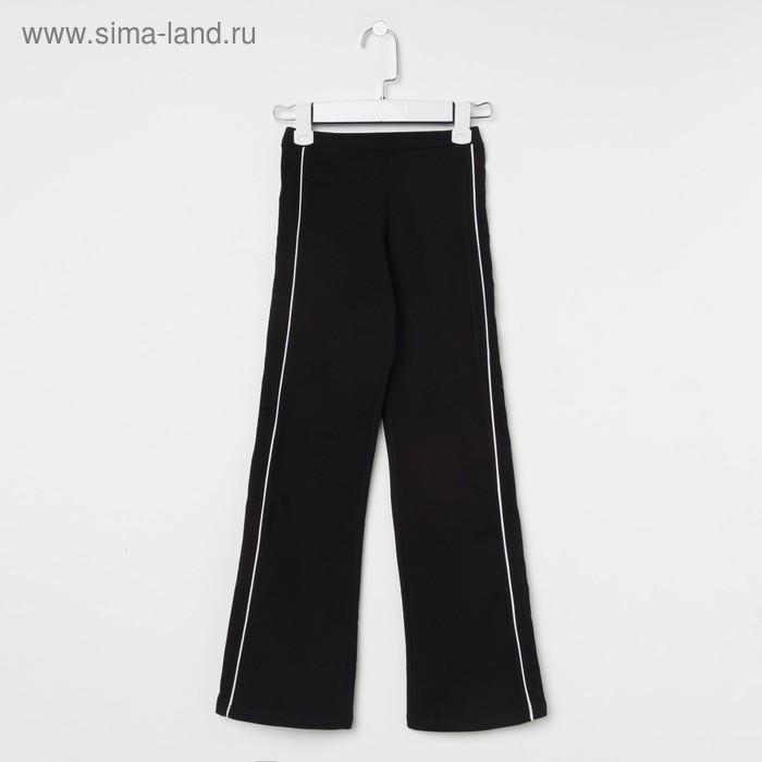 Брюки гимнастические детские с лампасами, рост 140 см (10 лет), цвет черный