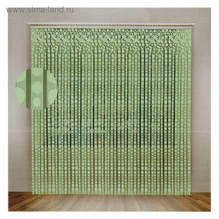 Штора со шторной лентой, ширина 230 см, высота 250 см, цвет салатовый