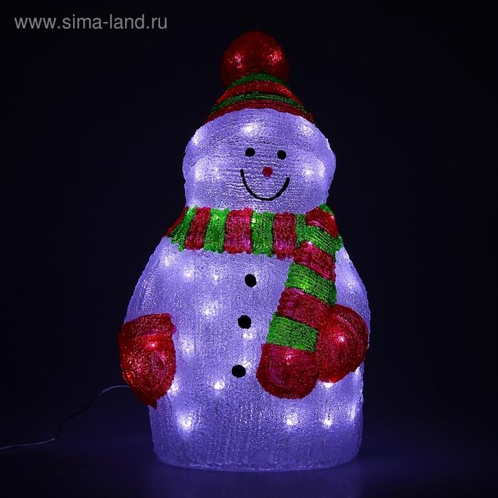 "Фигура акрил. ""Снеговик позитивный"" 50х28 см, 80 LED, 220V"