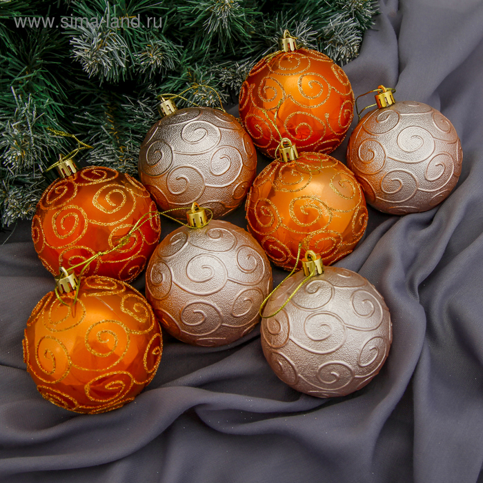 """Новогодние шары """"Карамелька с узором"""" (набор 8 шт.)"""