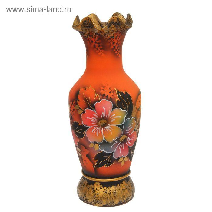"""Ваза напольная """"Алёнка"""" цветы, оранжевая"""