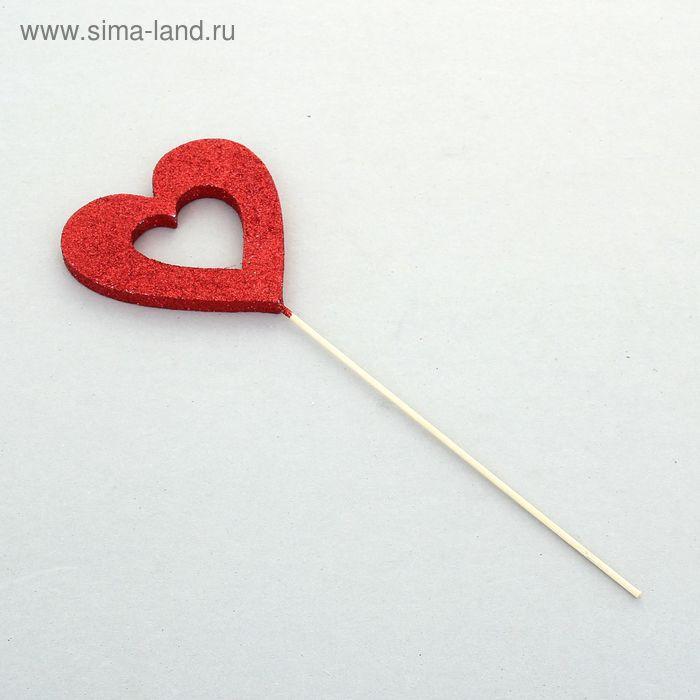 """Вставка """"Сердце-контур"""", 12 см, блеск красный"""