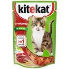 Влажный корм Kitekat для кошек, говядина в желе, пауч, 85 г