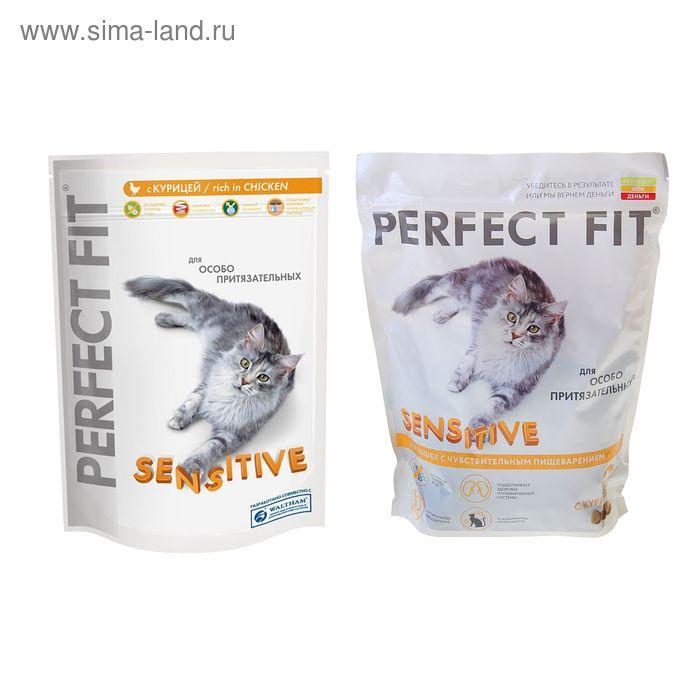 Сухой корм Perfect Fit для чувствительных кошек, курица, 650 г