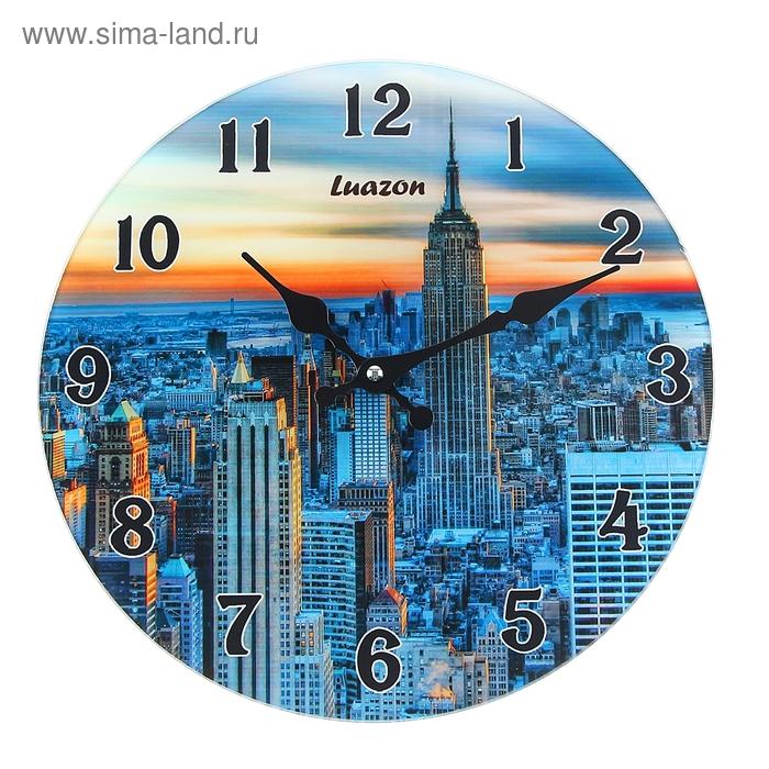 """Часы настенные из стекла """"Закат в Нью Йорке"""""""