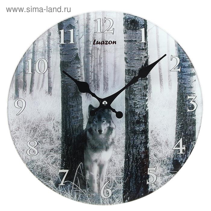 """Часы настенные из стекла """"Волк на охоте"""""""
