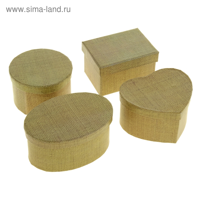 "Набор коробок 4в1 ""Лён"", цвет бежевый, форма ассорти"