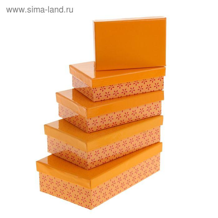"""Набор коробок 5в1 """"Лютики"""", цвет оранжевый, 20,5 х 13 х 6 - 13 х 9 х 4 см"""