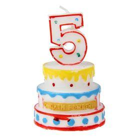 """Свеча-цифра в форме торта """"5"""""""