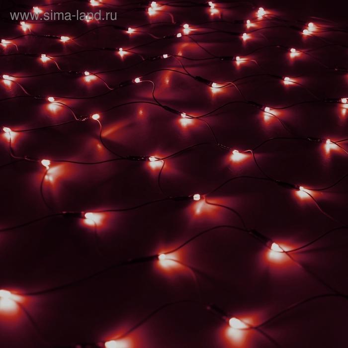 """""""Сетка"""" Ш:1,2 м, В:1,1 м, нить темная, LED-144-220V, контр. 8 р, КРАСНЫЙ"""