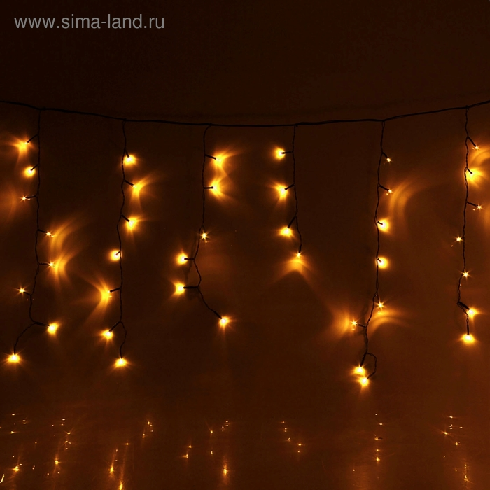 "Гирлянда ""Бахрома"" улич. Ш:2 м, В:0,6 м, нить темная, LED-120-220V, контр. 8 р. ЖЕЛТЫЙ"