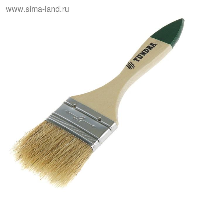 """Кисть плоская TUNDRA basic, натуральная щетина, деревянная ручка 2"""" (50 мм)"""